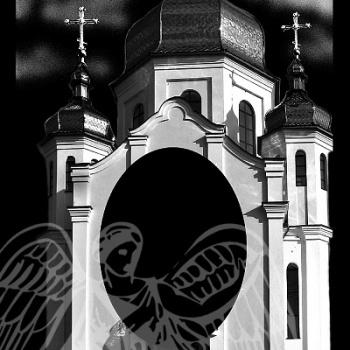 Гравировка с изображением храма 7