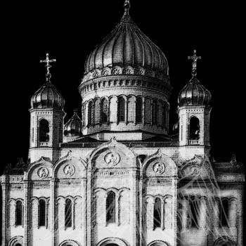 Гравировка с изображением храма 8