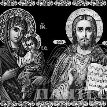 Гравировка иконы Иисуса Христа и Богоматери