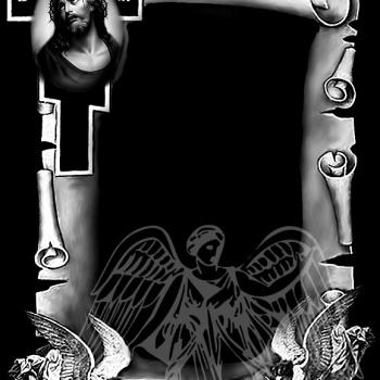 Гравировка рамка с крестом и ликом Иисуса
