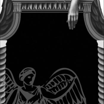 Гравировка рамка с ангелом