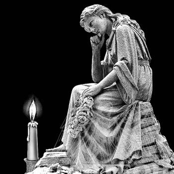 Гравировка изображения скульптуры со свечей