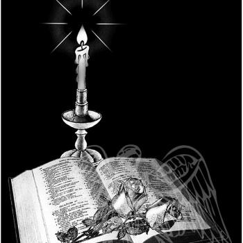 Гравировка изображения книги со свечей