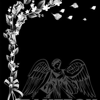 Гравировка орнамент цветов с лентой